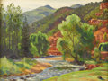 Texas:Early Texas Art - Regionalists, OLIN TRAVIS (1888-1975). Frying Pan River, 1930s. Oil onartist board. 12in. x 16in.. Signed and titled verso. This pa...