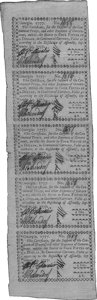 Colonial Notes:Georgia, Georgia September 10, 1777 Uncut Vertical Strip of Five $4/5 Extremely Fine. ...