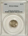 Three Cent Nickels: , 1881 3CN MS66 PCGS. A powerfully impressed Premium Gem withsplendidly smooth fields and only a whisper of golden-gray toni...