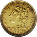 Classic Quarter Eagles: , 1839-C $2 1/2 AU55 NGC. Recut 39, Variety 3-C, McCloskey-C, Breen-6150 R.3. This is an outstanding example of this scarce C...
