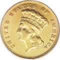 Proof Three Dollar Gold Pieces: , 1882 $3 PR53 PCGS. As was the case with proof issues of this era,some examples entered circulation or were mishandled, ina...