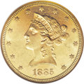 Liberty Eagles: , 1885 $10 MS63 NGC. Prior to the discovery of a few Europeanmini-hoards in recent years, the 1885 eagle was considered rare...