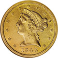 Liberty Half Eagles: , 1843-O $5 Large Letters AU53 NGC. Most easily recognized as the Large Letters variety by the placement of the O mintmark ab...