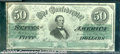 Confederate Notes:1862 Issues, 1862 $50 Black with green overprint; Jefferson Davis, T-50, VF-...