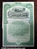 Stocks, Bonds And Checks: , Chicago and Erie Railroad Company, $1000 bond, 1890, Green-Blac...