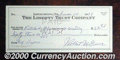 "Stocks, Bonds And Checks: , Baseball great ""Lefty Grove"" autographs a check on his personal..."