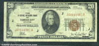 1929 $20 Federal Reserve Bank Note (Kansas City), Fr-1870-J, VF. The note is very clean for the grade but the top margin...