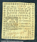 Colonial Notes:Connecticut, October 11, 1777, 4d, Connecticut, CT-216, AU. A very sharp loo...
