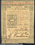Colonial Notes:Pennsylvania, October 1, 1773, 50s, Pennsylvania, PA-170, AU. There is a ligh...