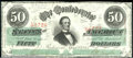 Confederate Notes:1863 Issues, 1863 $50 Black with green overprint; Jefferson Davis, T-57, XF....