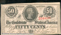 Confederate Notes:1863 Issues, 1863 50 Cents Bust of Jefferson Davis, T-63, CU. There is a pap...