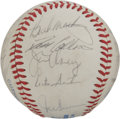 Autographs:Baseballs, 1983 Toronto Blue Jays Team Signed Baseball. Manager Bobby Cox isjoined here on the offered OAL (MacPhail) orb by 18 other...