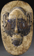 African: , Lula (?) (Democratic Republic of Congo). Face Mask. Wood, pigment, laundry bluing, metal. Height: 16 1/4 inches Width: 10 i...