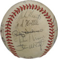 Autographs:Baseballs, 1983 Oakland Athletic s Team Signed Baseball. Under the rule ofskipper Steve Boros, the 1983 Oakland Athletics finished fo...