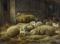 EUGÉNE RÉMY MAES (Belgium 1849-1931) Sheep And Chickens In A Barn Oil on canvas 24 x 31-3/4 inches (61 x 8...