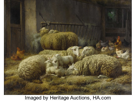 EUGÉNE RÉMY MAES (Belgium 1849-1931) Sheep And Chickens In A Barn Oil on canvas 24 x 31-3/4 inches (61 x 80.6 cm) Si...