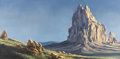 Fine Art - Painting, American:Contemporary   (1950 to present)  , CURT WALTERS (American b.1950). Shiprock. Oil on canvas. 24x 48 inches (60.96 x 121.92 cm). Signed and dated lower righ...