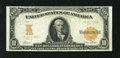 Large Size:Gold Certificates, Fr. 1170a $10 1907 Gold Certificate Very Fine-Extremely Fine. This note may be one fold from EF, which makes it a Choice VF....