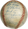 Autographs:Baseballs, 1954 New York Yankees Team Signed Baseball. Don't let the fact that the Yanks didn't take the flag this season fool you--th...