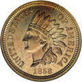 Patterns: , 1858 P1C Indian Cent, Judd-212, Pollock-263, Snow-PT25, R.4, PR65 NGC. Eagle Eye Photo Seal, card included. The obverse fea...