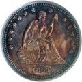 Patterns: , 1864 25C Quarter Dollar, Judd-384, Pollock-452, Low R.7, PR63 PCGS.A regular Seated quarter obverse is paired with a rever...