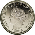 Patterns: , 1883 5C Liberty Head Five Cents, Judd-1707, Pollock-1911, Low R.6,PR66 NGC. The central obverse device is similar to the h...