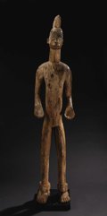 African: , Igbo (Nigeria), North-central Region. Male Deity Figure,Alusi. Hardwood, pigments, encrustations. Height: 58 ½ inches W...