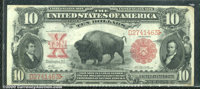 1901 $10 Legal Tender Note, Fr-117, VF. A wonderful looking Bison with great eye appeal, but two problems. The top right...