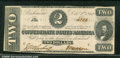 Confederate Notes:1862 Issues, 1862 $2 Judah P. Benjamin, T-54, AU. Just one vertical fold kee...