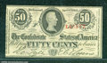 Confederate Notes:1863 Issues, 1863 50 Cents Bust of Jefferson Davis, T-63, AU. A corner tip f...