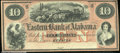 Miscellaneous:Obsolete and Broken Bank Notes, $10 Eastern Bank of Alabama, AU. The beautiful red overprint an...
