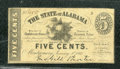Miscellaneous:Obsolete and Broken Bank Notes, 5 cents, The State of Alabama, Montgomery, AL, 1/1/1863, Cr-11,...