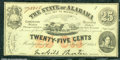Miscellaneous:Obsolete and Broken Bank Notes, 25 cents, The State of Alabama, Montgomery, AL, 1/1/1863, Cr-6,...