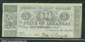 Miscellaneous:Obsolete and Broken Bank Notes, $5, The State of Arkansas, Arkansas Treasury Warrant, 5/30/1864...