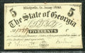 Miscellaneous:Obsolete and Broken Bank Notes, 5 Cents, The State of Georgia, Milledgeville, GA, 1/1/1863, Cr-...