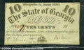 Miscellaneous:Obsolete and Broken Bank Notes, 10 cents, The State of Georgia, Milledgeville, GA, 1/1/1863, Cr...