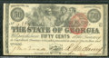 Miscellaneous:Obsolete and Broken Bank Notes, 50 cents, The State of Georgia, Milledgeville, GA, 1/1/1863, Cr...