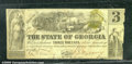 Miscellaneous:Obsolete and Broken Bank Notes, $3, The State of Georgia, Milledgeville, GA, 1/1/1864, Cr-28, V...