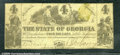 Miscellaneous:Obsolete and Broken Bank Notes, $4, The State of Georgia, Milledgeville, GA, 1/1/1864, Cr-27, F...
