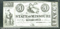 Miscellaneous:Obsolete and Broken Bank Notes, $20, The State of Missouri, Jefferson City, MO, 1/1/1862, CU. T...