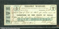 Miscellaneous:Obsolete and Broken Bank Notes, $5, Treasurer of the Sate of Texas, Treasury Warrant, Austin, T...