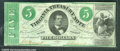 Miscellaneous:Obsolete and Broken Bank Notes, $5, Virginia Treasury Note, 3/13/1862, VF-XF. The green counter...