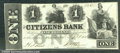 Miscellaneous:Obsolete and Broken Bank Notes, $1, The Citizens Bank of Washington, DC, 9/1853, VF. Wonderful ...