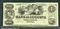 Miscellaneous:Obsolete and Broken Bank Notes, $1, The Bank of Augusta, Augusta, GA, AU. Just some light handl...