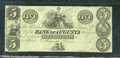 Miscellaneous:Obsolete and Broken Bank Notes, $5, The Bank of Augusta, Augusta, GA, XF. There is a light hori...