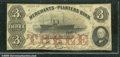 Miscellaneous:Obsolete and Broken Bank Notes, $3, The Merchants and Planters Bank, Savannah, GA, 1857, Fine. ...