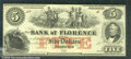 Miscellaneous:Obsolete and Broken Bank Notes, $5, The Bank of Florence, NE, CU. The outstanding vignette of s...