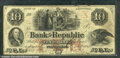 Miscellaneous:Obsolete and Broken Bank Notes, $10, The Bank of the Republic, Providence, RI, 12/20/1855, VG. ...
