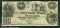 Miscellaneous:Obsolete and Broken Bank Notes, $20, The Republic of Texas, 1/25/1841, A6, VF. The wonderful In...