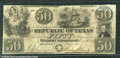 Miscellaneous:Obsolete and Broken Bank Notes, $50, Republic of Texas, 1/25/1840, A7, AU. The vignettes are re...